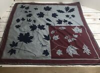 "vintage vera scarf 26.5"" square gray maroon blue leaves"