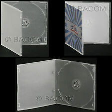 50 Custodie CD Singole PP Slim HQ SemiTrasparenti - BOX HQ SemiClear 1 CD/DVD