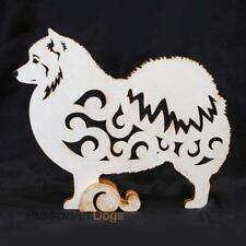 Japanese spitz dog figurine, statue made of wood
