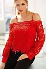 RED VALENTINE'S CHUNKY LACE COLD-SHOULDER TOP