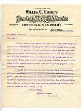 Vintage Letterhead WILLIS C COREY BONDS & STOCK CERTIFICATES Boston 1911