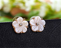 White plum flower made of shell and crystal stud earrings, 50s 60's 70s retro