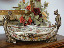 Luxus Prunkschale Porzellan Bronze Zierschale Jugendstil Prunk Schale Edel Antik