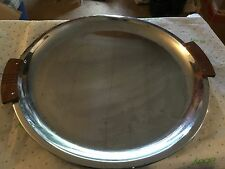 metal crome tray with wood handles
