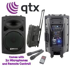 "QTX QR15PA 250W RMS 15"" Active DJ Musician Portable USB PA Speaker System"