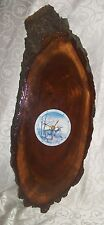 "Gorgeous Wood Slab Autumn Deer Wall Clock 25.75"" x 10"" x 1.25"" - WORKS"