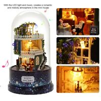 Dollhouse Miniature DIY Kit with Cover Wood Toy Doll House Cottage W/ LED lights