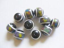 10 Round/ Acrylic  Resin Beads - 12mm x 10mm - Black