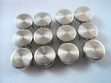 12 Round Silver Tone Concentric Circles Studs Clothing Leather Decoration 7/16""