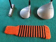 New knitted zebra style Fairway & Driver club head cover Orange / Black