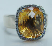LeVian 14K Yellow Gold Citrine Diamond Ring Designer Signed Jewelry Le Vian