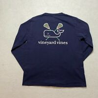 Vineyard Vines Long Sleeve T-Shirt Youth Size M Blue Lacrosse Pocket Whale