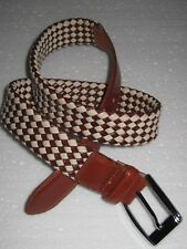 BEVERLY HILLS POLO CLUB braided PU brown leather and twine belt, size 34