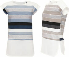 Polyester Short Sleeve Machine Washable Striped T-Shirts for Women