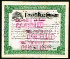 1912 Hammond Indiana - Frank S Betz Company - Medical Surgical stock certificate