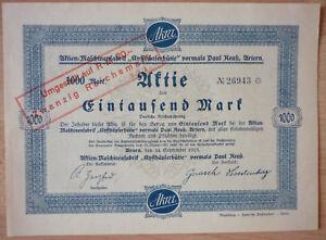 Aktie, Maschinenfabrik Kyffhäuserhütte 1923, 1000 RM, (Art.3144)