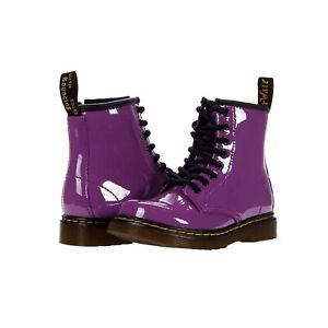 Dr. Martens Womens Purple Patent Leather Lace-up Boots Size 5