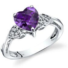 14K White Gold Amethyst Heart Shape Diamond Ring 1.5 Carats Size 7