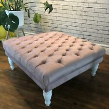 👍🏼 AMAZING BUTTONED FOOTSTOOL BLUSH PINK COLOUR