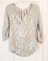 ANTHROPOLOGIE TINY womens size XS silver metallic embroidered boho blouse top