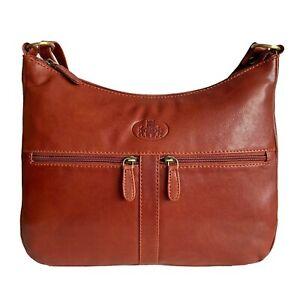 Rowallan Cognac Leather Handbag, Shoulder Bag, Cross Body Bag