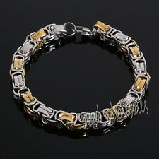 Fashion Men's Jewelry Stainless Steel Gold Silver Chain Cuff Bangle Bracelet