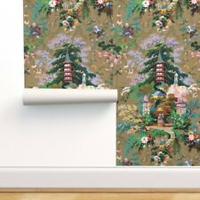 Removable Water-Activated Wallpaper Chinoiserie Olive Asian Toile Palace Antique