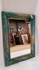 Bali Reproduction Wall Mirror Hand Carved Timber Green Yellow 60cm x 82cm Rustic