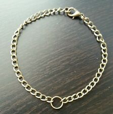 """Bronze Tone 8.0"""" Link Chain Bracelet 4mm for Lobster Clasp or Clip on Charms"""
