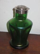 AUSTRIAN BOHEMIAN POS LOETZ IRIDESCENT GREEN BOTTLE FLASK ART NOUVEAU SILVER TOP
