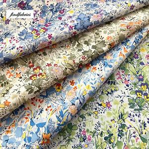 LAWN Fabric Meadow Prints Soft Colours 100% Cotton 140cm Wide Sewing Dress