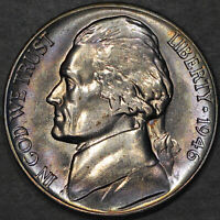 1946-S Jefferson Nickel 5C - Gem Uncirculated - Colorful Toning