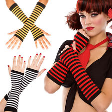 Punk Rave Two Color Striped Fingerless Gloves Arm Warmers Costume Long Mittens
