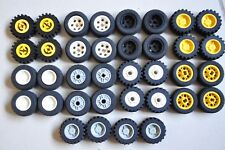 1 Set of 4 LEGO Wheels Tyres Car Part 30.4 mm x 14mm White Grey, Yellow or Black