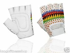 LEATHER MESH/CROCHET PADDED CYCLING GYM TRAINING WHEELCHAIR GLOVES