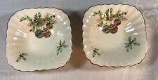 "2 Mikasa Ivory Bone  ""Christmas Spirit"" China Dishes, Candy,nuts, Trinkets"