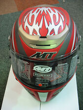 FULL FACE MOTORCYCLE CRASH HELMET FIBREGLASS MATT RED L 60 cm XL 62 XXL 64cm NEW