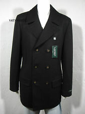 RALPH LAUREN Wool Blend Naval/Military Pea Coat Quilted Lining Black sz 48R- XXL