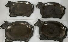 Vintage Lot of 4 Cast Iron Bull Steak Warming Sizzler Plates Cattle Steer