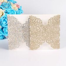 Romantic Glittery Flower Pattern Laser Cut Invitation Cards For Wedding Occasion