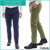 Pantaloni Uomo Chino Slim Fit Elegante Tasca Amarica Classico Cotone Primaverile