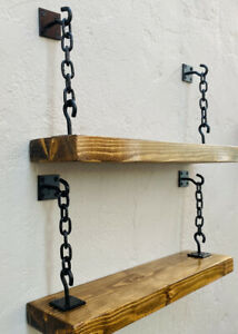 Industrial Style Chain Brackets Shelf Rustic Shelf Wall Mounted Shelves