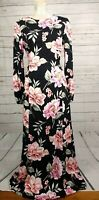 Asos Black Floral Tie Waist Hippy Boho Occasion Maxi Dress Size 10