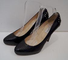 JIMMY CHOO Black Snakeskin Gold Silver Stud High Platform Court Pump Shoes 39.5