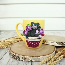 Ceramic Mug Teddybear Fimo Green Handmade Bear Gift Decorated New Coffee Cup