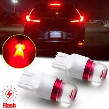 Red 7443 7440 LED Strobe Flashing Blinking Brake Light Tail Stop Parking Bulb