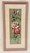 """Cross Stitch Rose Picture in Pink Wooden Frame 22"""" x 10.5"""""""
