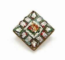 """Mid Century Vintage Italian Micro Mosaic Brooch 13/16"""""""