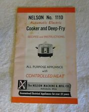 Nelson No. 1110 Automatic Electric Cooker and Deepfry Recipes Instruction Manual