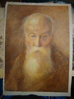 Ecole FRANCAISE XIX GRAND DESSIN PASTEL PORTRAIT HOMME VIEILLARD MOINE ? 1880